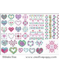 Mini Motifs Fleurs et Coeur, grille de broderie, création Maria Diaz