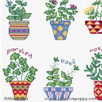 <b>Petits pots d'herbes aromatiques</b><br>grille point de croix<br>création <b>Maria Diaz</b>