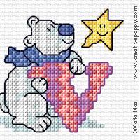 <b>Alphabet - Pingouin et ours polaire</b><br>grille point de croix<br>création <b>Maria Diaz</b>