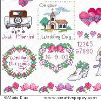 Mini motifs mariage romantique - grille point de croix - création Maria Diaz