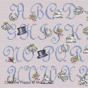 <b>ABC Mariage Romantique</b><br>grille point de croix<br>création <b>Maria Diaz</b>