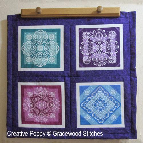 Pas-à-pas: Réaliser un quilt composé de pièces brodées, grille de broderie, création Gracewood Stitches