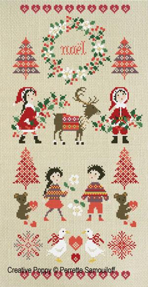 Bannière Noël Nordique Grille de broderie, création Perrette Samouiloff
