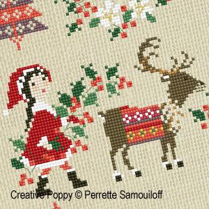 Bannière Noël nordique, grille de broderie, création Perrette Samouiloff