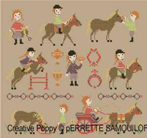 Perrette Samouiloff -  Le Poney Club (grille de broderie au point de croix)
