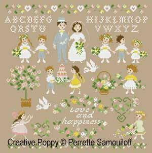 Le mariage (grand modèle) - grille point de croix - création Perrette Samouiloff