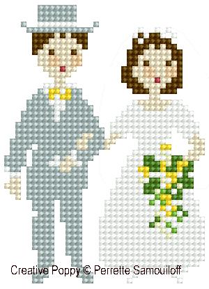 <b>Le mariage (grand modèle)</b><br>grille point de croix<br>création <b>Perrette Samouiloff</b>