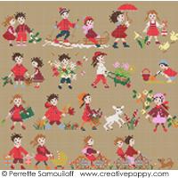 Collection Bonheurs d'enfance - Rouge - grille point de croix - création Perrette Samouiloff