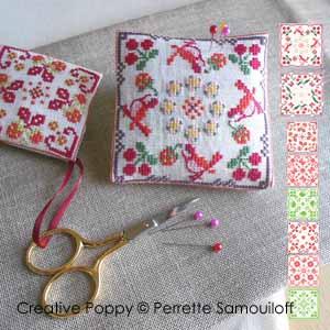 Perrette Samouiloff - 8 motifs oiseaux, cerises et fraises (point de croix)