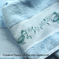 Les canards, motif pour serviette de toilette - grille point de croix - création Perrette Samouiloff
