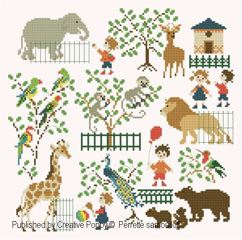 Bébé au zoo (grand modèle) - grille point de croix - création Perrette Samouiloff