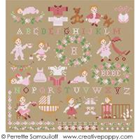 Bébé et Nounours - Pour petites filles - grille point de croix - création Perrette Samouiloff