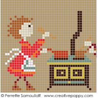 <b>Bonheurs d'enfance - La cuisine GM</b><br>grille point de croix<br>création <b>Perrette Samouiloff</b>