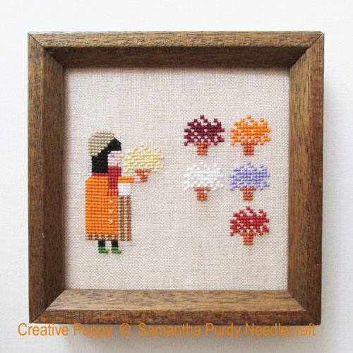 Chrysanthèmes, grille de broderie, création Samantha Purdy