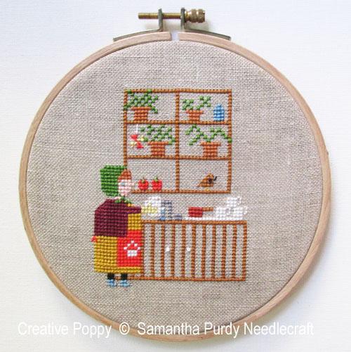 La vaisselle, grille de broderie, création Samantha Purdy