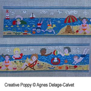 Une histoire à broder: à la plage, en famille, grille de broderie, création Agnès Delage-Calvet