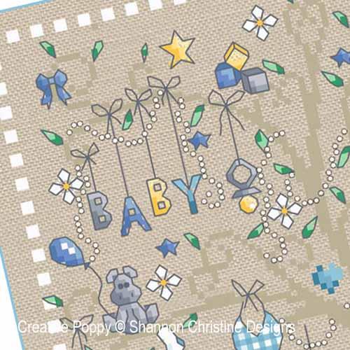 Arbre de naissance garçon broderie point de croix, création Shannon Christine Wasilieff, zoom3