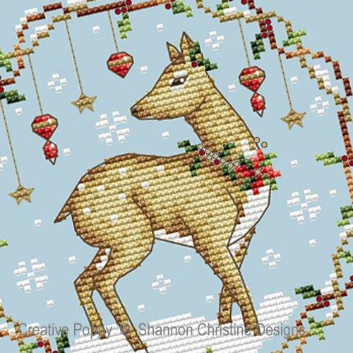 Animaux des bois - Biche de Noël, grille de broderie, création Shannon Christine Wasilieff