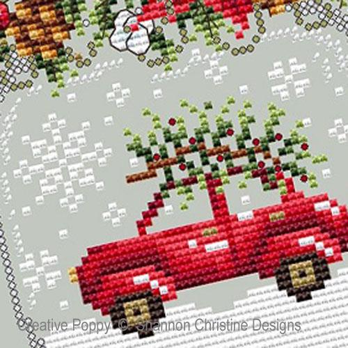 Shannon Christine Wasilieff - Boule à neige à la voiture rouge, zoom 1 (grille de broderie point de croix)