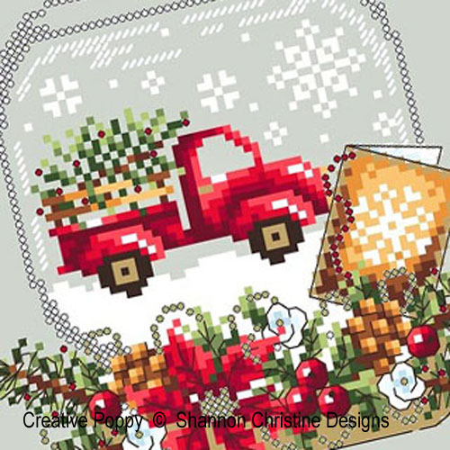 Boule à neige - au camion rouge, grille de broderie, création Shannon Christine Wasilieff