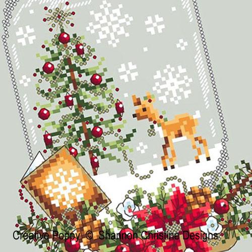 Boule à neige - au renne, grille de broderie, création Shannon Christine Wasilieff
