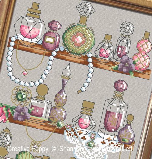 Shannon Christine Wasilieff - L'étagère à parfums, zoom 1 (grille de broderie point de croix)