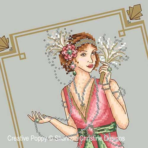 Lady Art Déco, grille de broderie, création Shannon Christine Wasilieff