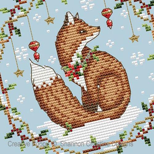 Animaux des bois - Renard de Noël, grille de broderie, création Shannon Christine Wasilieff