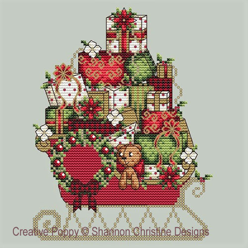 Le traineau du Père Noël, grille de broderie, création Shannon Christine