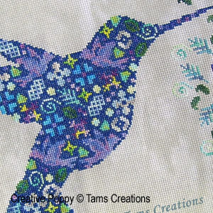 <b>Humminpatches - le colibri en patch!</b><br>grille point de croix<br><b>Tam's Creations</b>