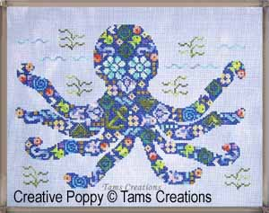 Octopatches, le poulpe en patch, grille de broderie, création Tams Creations