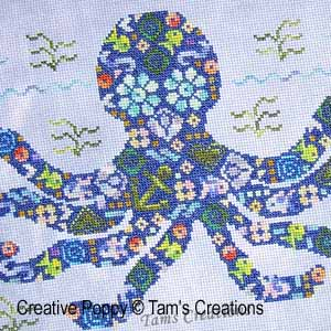 Octopatches, le poulpe en patch, grille de broderie, création Tams Creations, zoom 1