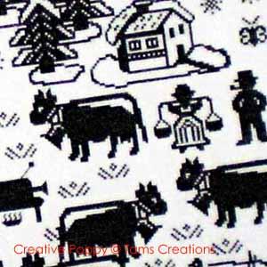Modèles à broder sur le thème vaches, moutons et cochons