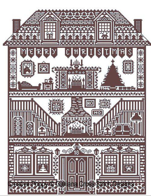 Grille point de croix Maison de Noël par Galliana