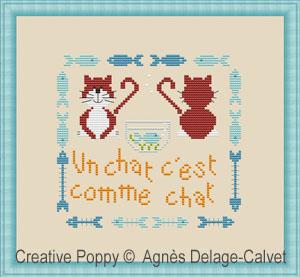 Un chat si sage, grille de broderie, création Agnès Delage-Calvet