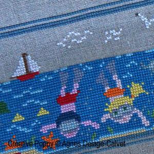 Une histoire à broder: à la plage, en famille, grille de broderie, création Agnès Delage-Calvet, zoom 1