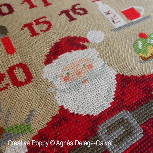 Le père Noël aux fourneaux - calendier de l'avent, grille de broderie, création Agnès Delage-Calvet