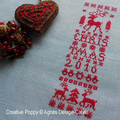 Bannière de Noël au renne, grille de broderie, création Agnès Delage-Calvet