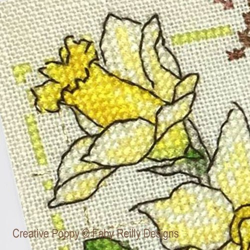 Anthea - Mars - Jonquilles, grille de broderie, création Faby Reilly