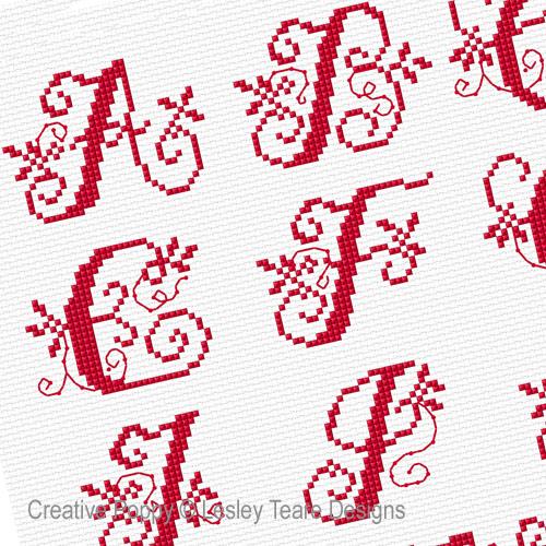 Bannière aux monogrammes, grille de broderie, création Lesley Teare