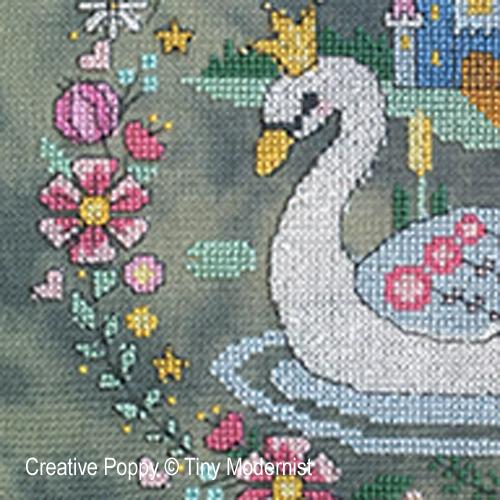 La princesse cygne, grille de broderie, création Tiny Modernist