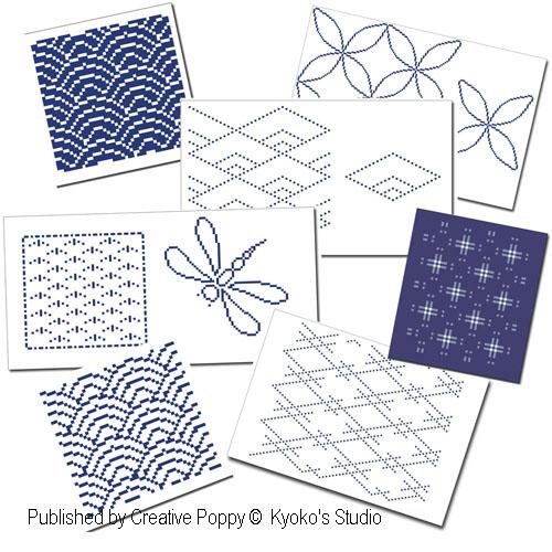 Les carnets du point de croix: 10 motifs traditionnels du japon, grille de broderie, création Kyoko's Studio