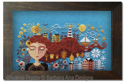 La fille qui rêve, grille de broderie, création Barbara Ana