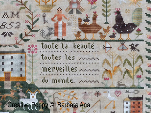 Toutes les merveilles (All creatures great and Small), grille de broderie, création Barbara Ana