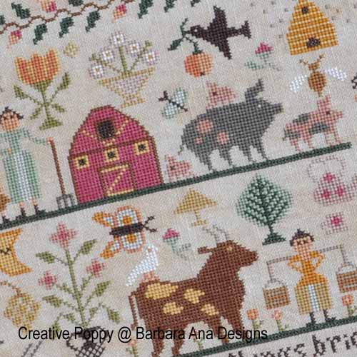 All Creatures Great and Small broderie point de croix, création Barbara Ana, zoom2