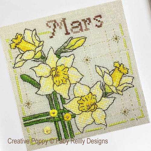 Faby Reilly Designs - Anthea - Mars - Jonquilles (grille point de croix)