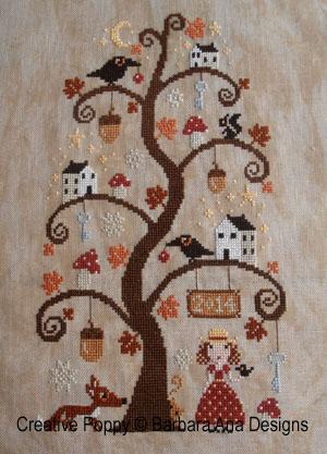 L'arbre d'automne, grille de broderie, création Barbara Ana