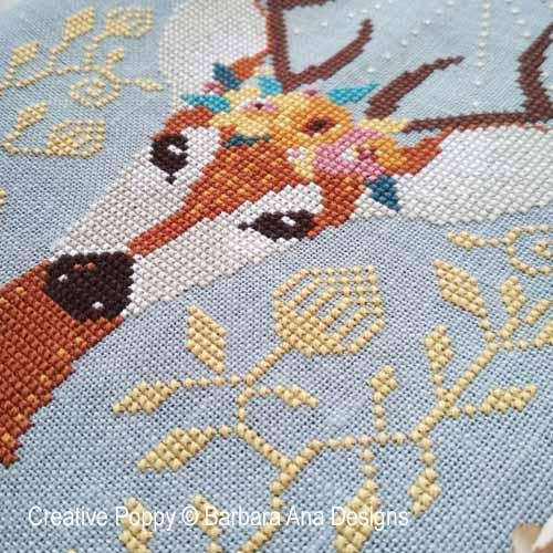 Cerf de printemps, grille de broderie, création Barbara Ana