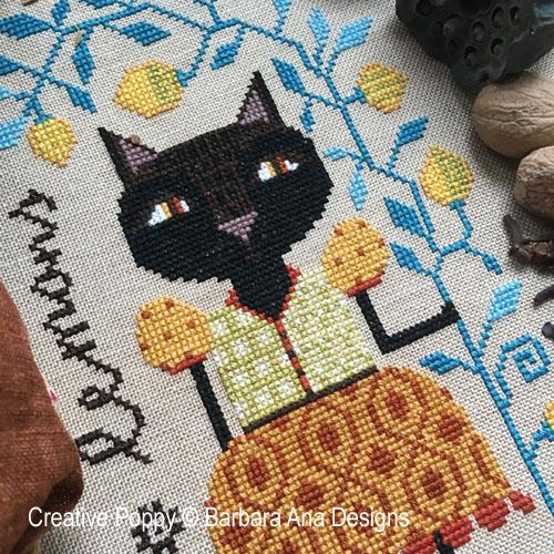 Le chat sous le citronnier, grille de broderie, création Barbara Ana