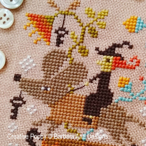 La chevauchée prodigieuse, grille de broderie, création Barbara Ana